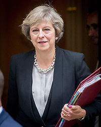 September 7, 2016 - London, England, United Kingdom - Image ©Licensed to i-Images Picture Agency. 07/09/2016. London, United Kingdom. Prime Minister Theresa May Leaving Downing Street. Prime Minister Theresa May, leaving Number 10 Downing Street for Prime Minister's Questions in the Houses of Parliament. Picture by Pete Maclaine / i-Images (Credit Image: © Pete Maclaine/i-Images via ZUMA Wire)