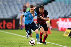 December 15, 2018 - Sydney, NSW, U.S. - SYDNEY, NSW - DECEMBER 15: Sydney FC midfielder Brandon O'neill (13) tries to chase down Western Sydney Wanderers forward Oriol RieraÊ(9) at the Hyundai A-League Round 8 soccer match between Western Sydney Wanderers FC and Sydney FC at ANZ Stadium in NSW, Australia on December 15, 2018. (Photo by Speed Media/Icon Sportswire) (Credit Image: © Speed Media/Icon SMI via ZUMA Press)