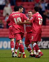 Photo: Jed Wee.<br />Darlington v Swindon Town. Coca Cola League 2. 19/08/2006.<br /><br />Swindon celebrate with goalscorer Paul Evans (2nd, R).