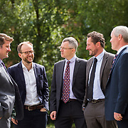 28/08/2015             <br /> Pharmaceutical Manufacturing Technology Centre (PMTC) Knowledge day at the Kemmy Business School, University of Limerick.    <br />  Pictured at the event were, Dr. Chris Edlin, Director PMTC, Martin Wallace, GSK, Charles Gordon, Britest, Prof. Gavin Walker, Bernal Chair of Pharmaceutical Powder Eng., and Stan O'Neill, The Compliance Group. Picture: Alan Place