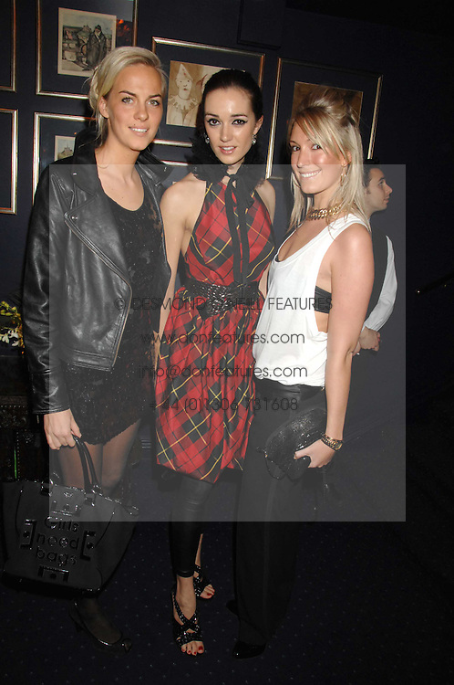 Left to right, LADY LOUISA COMPTON, SOPHIA ROGGE and OLIVIA BUCKINGHAM at a party to celebrate the publication of the 2007 Tatler Little Black Book held at Tramp, 40 Jermyn Street, London on 7th November 2007.<br />