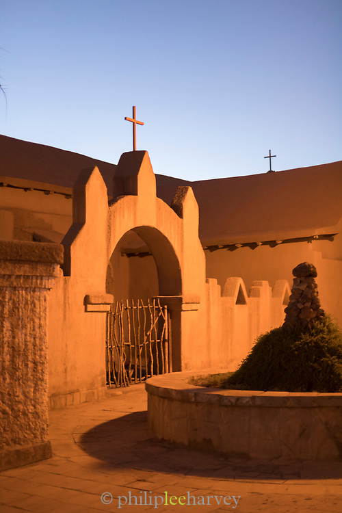 Church gate at dawn under clear sky