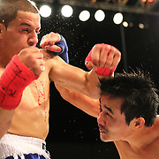 FORT LAUDERDALE, FL - FEBRUARY 15: Dat Nguyen fights Abdiel Velazquez during the Bare Knuckle Fighting Championships at Greater Fort Lauderdale Convention Center on February 15, 2020 in Fort Lauderdale, Florida. (Photo by Alex Menendez/Getty Images) *** Local Caption *** Dat Nguyen; Abdiel Velazquez