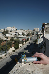 A used CS gas cannister fired by Isreali soldiers near the Aida refugee camp in Bethlehem. From a series of photos commissioned by  British NGO, Medical Aid for Palestinians (MAP).