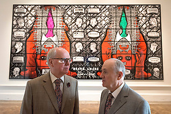 © Licensed to London News Pictures. 07/06/2016. Artists GEORGE PASSMORE (L) and GILBERT PROUSCH (R) better know as GILBERT AND GEORGE unveil their new work titled Beard Aware for the Royal Academy Summer Exhibition.  The Summer Exhibition marking its 248th year, is the world's largest open submission exhibition, held every year without interruption since 1769, and continues to play a significant part in raising funds to finance the current students of the RA Schools.  London, UK. Photo credit: Ray Tang/LNP