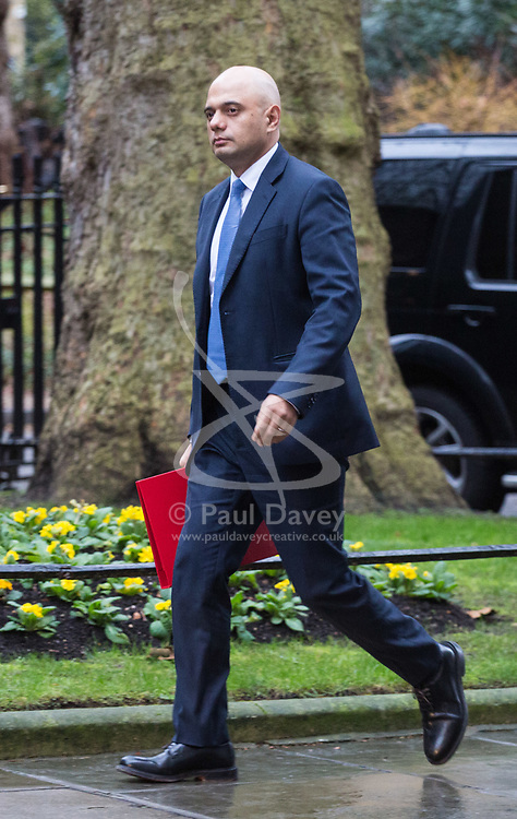 London - Secretary of State for Housing, Communities and Local Government Sajid Javid attends the weekly meting of the UK cabinet at Downing Street. January 23 2018.