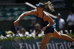 June 2, 2018 - Paris, Ile-de-France, France - Maria Sharapova of Russia plays a forehand during her womens singles third round match against Karolina Pliskova of Czech Republic during day 7 of the 2018 French Open at Roland Garros on June 2, 2018 in Paris, France. (Credit Image: © Mehdi Taamallah/NurPhoto via ZUMA Press)