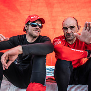 Leg 9, from Newport to Cardiff, day 03 on board MAPFRE, Antonio Cuervas-Mons and Xabi Fernandez talking about where the other boats are. 22 May, 2018.