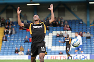 Newport County's striker Chris Zebroski shows his frustration in the 0-0 draw after being caught offside. Skybet Football League two match, Bury v Newport county at Gigg Lane in Bury on Saturday 5th Oct 2013. pic by David Richards, Andrew Orchard sports photography,