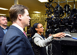 © Licensed to London News Pictures. 14/03/2013. London, UK Deputy Prime Minister Nick Clegg visits White Light, a company in South West London, to talk to apprentices and launch the Government's response to the Richard Review today 14th March 2013. Photo credit : Stephen Simpson/LNP