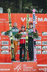 28.02.2020, Salpausselkae Hill, Lahti, FIN, FIS Weltcup Ski Sprung, Herren, Siegerehrung, im Bild 2. Platz Karl Geiger (GER), Sieger Stefan Kraft (AUT), 3. Platz Daniel Andre Tande (NOR) // 2nd placed Karl Geiger of Germany Winner Stefan Kraft of Austria 3rd placed Daniel Andre Tande of Norway during the winner ceremony for the men's FIS Ski Jumping World Cup at the Salpausselkae Hill in Lahti, Finland on 2020/02/28. EXPA Pictures © 2020, PhotoCredit: EXPA/ JFK