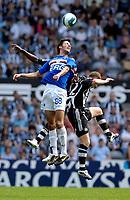 Photo: Jed Wee/Sportsbeat Images.<br /> Newcastle United v Sampdoria. Pre Season Friendly. 05/08/2007.<br /> <br /> Sampdoria's Salvatore Foti jumps highest to win the ball.