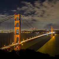 Looking back across the Golden Gate Bridge at San Francisco from one of the old battery fortifications. © John McBrayer
