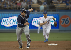 August 11, 2017 - Los Angeles, California, U.S - 11 Aug 2017. The Los Angeles Dodgers play the San Diego Padres in the first  game of a three-game series at Dodger Stadium. Pictured is Padre's Will Myers heading to third base. (Credit Image: © Prensa Internacional via ZUMA Wire)