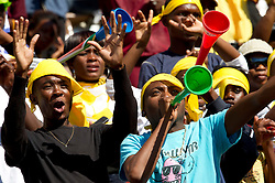 South Africa fans during the Group C first round 2010 FIFA World Cup South Africa match between Algeria and Slovenia at Peter Mokaba Stadium on June 13, 2010 in Polokwane, South Africa.  (Photo by Vid Ponikvar / Sportida)