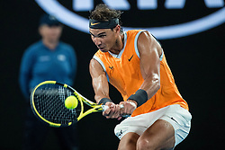 January 24, 2019 - Melbourne, Australia - RAFAEL NADAL of Spain in action against Stefanos Tsitsipas of Greece during their day eleven men's semifinal match of the 2019 Australian Open at Melbourne Park Tennis Centre Melbourne, Australia. Nadal won 6:2, 6:4, 6:0. (Credit Image: © Chaz Niell/Icon SMI via ZUMA Press)