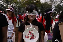 May 1, 2019 - Hong Kong, CHINA - Indonesian worker blindfold herself during annual May Day Parade protest in Hong Kong. (Credit Image: © Liau Chung-ren/ZUMA Wire)