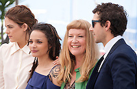 Actresses Riley Keough, Sasha Lane, director Andrea Arnold and actor Shia LaBeouf at the American Honey film photo call at the 69th Cannes Film Festival Sunday 15th May 2016, Cannes, France. Photography: Doreen Kennedy