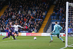Byron Moore of Bury has a shot saved by the keeper - Mandatory by-line: JMP - 04/05/2019 - FOOTBALL - Gigg Lane - Bury, England - Bury v Port Vale - Sky Bet League Two