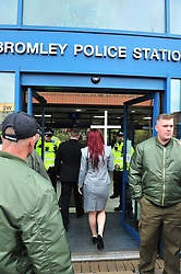 © Licensed to London News Pictures.04/11/2017.<br /> BROMLEY, UK.<br /> Britain First leaders going to sign in on bail.<br /> Britain First hold a Persecuted Patriots Rally outside Bromley Police Station, Bromley South.Party Leader Paul Golding and his deputy Jayda Fransen have to sign on bail every Saturday 2pm at Bromley Police station.<br /> Photo credit: Grant Falvey/LNP