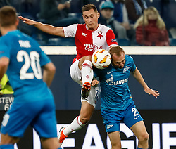 October 4, 2018 - Saint Petersburg, Russia - Aleksandr Anyukov (R) of FC Zenit Saint Petersburg and Jan Boril of SK Slavia Prague vie for the ball during the Group C match of the UEFA Europa League between FC Zenit Saint Petersburg and SK Sparta Prague at Saint Petersburg Stadium on October 4, 2018 in Saint Petersburg, Russia. (Credit Image: © Mike Kireev/NurPhoto/ZUMA Press)