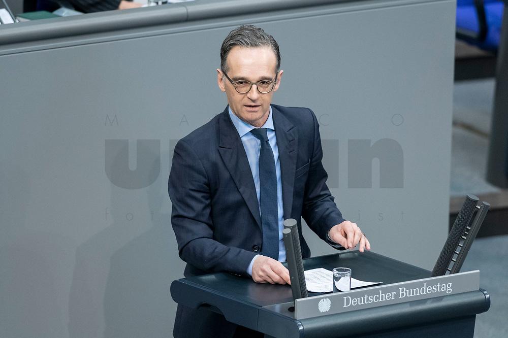 13 FEB 2020, BERLIN/GERMANY:<br /> Heiko Maas, SPD, Bundesaussenminister, haelt eine Rede, Sitzung des Deutsche Bundestages, Plenum, Reichstagsgebaeude<br /> IMAGE: 20200213-01-010