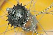 close up of metal wheel spokes