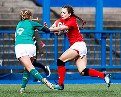 Jasmine Joyce of Wales under pressure from Kathryn Dane of Ireland <br /> <br /> Photographer Simon King/Replay Images<br /> <br /> Six Nations Round 5 - Wales Women v Ireland Women- Sunday 17th March 2019 - Cardiff Arms Park - Cardiff<br /> <br /> World Copyright © Replay Images . All rights reserved. info@replayimages.co.uk - http://replayimages.co.uk