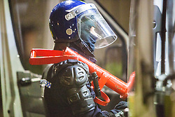 Police take part in an operation against drug dealers in the Stirling area early this morning.