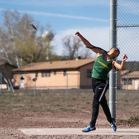 Thoreau's Kylee De Groat competes in the discus throw at the Wingate Invitational track meet, Saturday, April 6 in Fort Wingate.