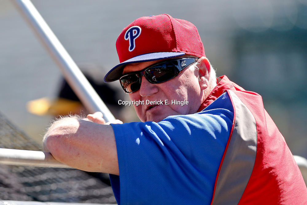 Mar 4, 2013; Bradenton, FL, USA; Philadelphia Phillies manager Charlie Manuel (41) before a spring training game against the Pittsburgh Pirates at McKechnie Field. Mandatory Credit: Derick E. Hingle-USA TODAY Sports