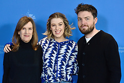 Joanna Hogg, Honor Swinton-Byrne and Tom Burke attending The Souvenir Photocall as part of the 69th Berlin International Film Festival (Berlinale) in Berlin, Germany on February 12, 2019. Photo by Aurore Marechal/ABACAPRESS.COM