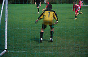 AF5GMA Children's football tournament. View of goalkeeper from behind the net