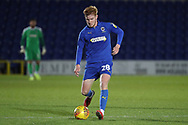 AFC Wimbledon midfielder Alfie Eagan (28) about to pass the ball during the EFL Trophy group stage match between AFC Wimbledon and Stevenage at the Cherry Red Records Stadium, Kingston, England on 6 November 2018.