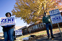SOUTHINGTON, CT - 02 NOVEMBER 2010 -.Leslie LeClair and William Lence, both of Bristol and members of the United Autoworkers Union, support their candidates in front of John F. Kennedy Middle School in Southington on Tuesday. .Photo by Josalee Thrift