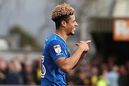 AFC Wimbledon striker Lyle Taylor (33) celebrating after scoring goal to make it 1-0 during the EFL Sky Bet League 1 match between AFC Wimbledon and Oxford United at the Cherry Red Records Stadium, Kingston, England on 10 March 2018. Picture by Matthew Redman.