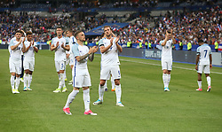 13 June 2017 International Football Friendly Match - France v England :<br /> dejection for England captain Harry Kane (9) as he and his team applaud the travelling supporters.<br /> Photo: Mark Leech.
