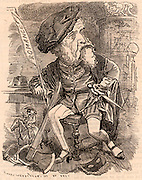(William) Harrison Ainsworth (1805-1882) English historical novelist whose works include 'Old St Paul's', 'The Tower of London' and 'Windsor Castle'.   Cartoon by Edward Linley Sambourne in the Punch's Fancy Portraits series from 'Punch' (London, 24 September 1881).