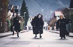 THEMENBILD - Krampuse beim Schaulauf, während eines traditionellen Hausbesuchs der Nikoaus und Krampusgruppe Frieden, aufgenommen am 04. Dezember 2018 in Lienz, Österreich // Home visit from Krampus and Saint Nicholas. Krampus a mythical creature that, according to legend, accompanies Saint Nicholas during the festive season. Instead of giving gifts to good children, he punishes the bad ones, Lienz, Austria on 2018/12/04. EXPA Pictures © 2018, PhotoCredit: EXPA/ JFK