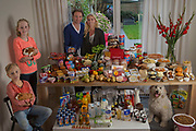 Zutphen, Netherlands. Family portrait of the Leussink family with one week's worth of food in September. The Hungry Planet project.