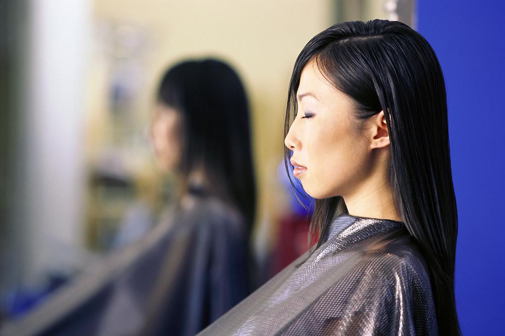 Kathy Vu, Asian Woman in salon, getting hair styled