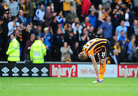 Hull City's Michael Dawson at the final whistle after his sides relegation from the Barclays Premier League is confirmed<br /> <br /> Photographer Chris Vaughan/CameraSport<br /> <br /> Football - Barclays Premiership - Hull City v Manchester United - Sunday 24th May 2015 - Kingston Communications Stadium - Hull<br /> <br /> © CameraSport - 43 Linden Ave. Countesthorpe. Leicester. England. LE8 5PG - Tel: +44 (0) 116 277 4147 - admin@camerasport.com - www.camerasport.com