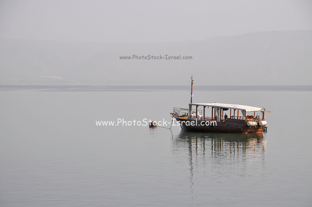 The Hope Boat. Replica of Jesus' Boat. Old wooden boat uncovered in the sea of Galilee, dated to the time of Jesus Christ. The original boat is on display at Kibbutz Ginosar, Israel