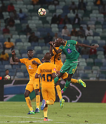 Willard Katsande of Kaizer Chiefs and Cleopas Dube of Baroka FC both clash during the 2016 Premier Soccer League match between Kaizer Chiefs and Baroka FC held at the Moses Mabhida Stadium in Durban, South Africa on the 2nd November 2016<br /> <br /> Photo by:   Steve Haag / Real Time Images