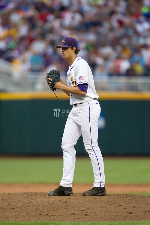 LSU Tigers pitcher Aaron Nola #10 pitches during Game 4 of the 2013 Men's College World Series between the LSU Tigers and UCLA Bruins at TD Ameritrade Park on June 16, 2013 in Omaha, Nebraska. The Bruins defeated the Tigers 2-1. (Brace Hemmelgarn)