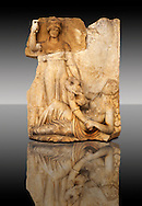 Photo of Roman releif sculpture of Roma & Ge [ Earth ] from  Aphrodisias, Turkey, Images of Roman art bas releifs. Buy as stock or photo art prints.  Black .<br /> <br /> If you prefer to buy from our ALAMY STOCK LIBRARY page at https://www.alamy.com/portfolio/paul-williams-funkystock/greco-roman-sculptures.html . Type -    Aphrodisias     - into LOWER SEARCH WITHIN GALLERY box - Refine search by adding a subject, place, background colour, museum etc.<br /> <br /> Visit our ROMAN WORLD PHOTO COLLECTIONS for more photos to download or buy as wall art prints https://funkystock.photoshelter.com/gallery-collection/The-Romans-Art-Artefacts-Antiquities-Historic-Sites-Pictures-Images/C0000r2uLJJo9_s0