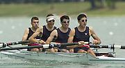 2003 - FISA World Cup Rowing Milan Italy.30/05/2003  - Photo Peter Spurrier.USA LM 4- Bow,  Matthew Smith, Erik Miller, Paul Teti and Stephen Warner. [Mandatory Credit: Peter Spurrier:Intersport Images]