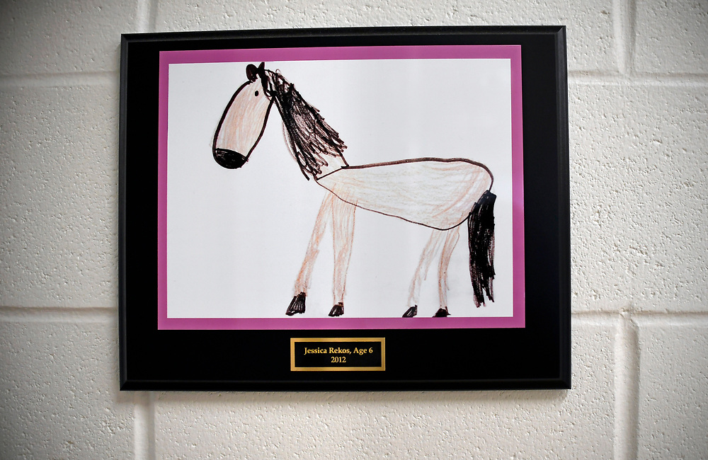 Inside the new Sandy Hook School is framed artwork made by children who were killed in the Sandy Hook School shooting in 2012.  A horse drawn by six year old Jessica Rekos is seen here, Saturday, Dec. 2, 2017, in Newtown, Conn. Jessica loved horses and was taking horseback riding lessons. She earned her first ribbon in June, 2012 at her first and only horse show. (Jessica Hill for the New York Times)