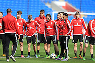 Joe Allen © of Wales looks on with his teammates during theWales football team training at the Cardiff City Stadium in Cardiff, South Wales on Wed 23rd March 2016. The team are preparing for their forthcoming friendly against Northern Ireland.<br /> pic by  Andrew Orchard, Andrew Orchard sports photography.