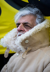 © Licensed to London News Pictures. 26/02/2016. London, UK. TARIQ ALI attends a CND (Campaign for Nuclear Disarmament) rally in central London on February 27, 2016. Jeremy Corbyn, who attended the rally,  has been criticised for publicly supporting the CND campaign while Labour Party policy  backs the renewal of Trident nuclear programme. Photo credit: Ben Cawthra/LNP